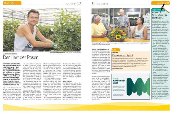 Das Foto zeigt den Artikel über die Gärtnerei Allemann in den KMU News