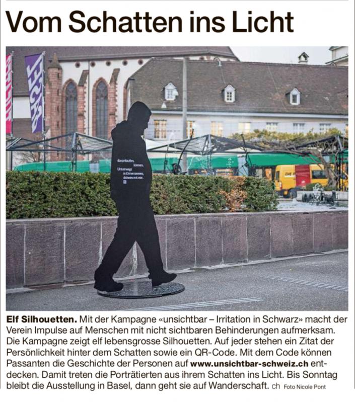 Das Foto zeigt den Artikel über Unsichtbar in der Basler Zeitung