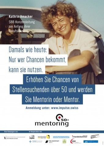 Das Foto eines der Plakate. Darauf ist Kathrin Amacker von der SBB.Konzerleitung am Anfang ihrer Berufskarriere zu sehen.
