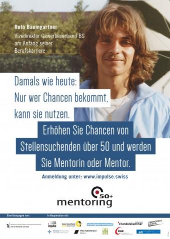 Das Foto eines der Plakate. Darauf ist Reto Baumgartner, Vizedirektor Gewerbeverband Basel-Stadt  am Anfang seiner Berufskarriere zu sehen.