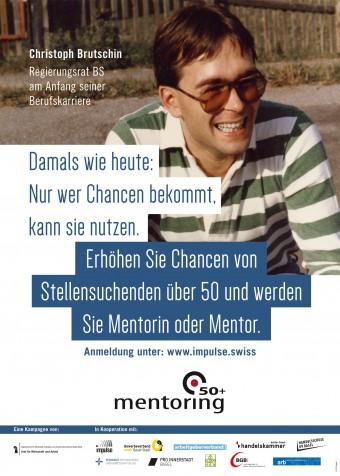 Das Foto eines der Plakate. Darauf ist der Basler Regierungsrat Christoph Brutschin am Anfang seiner Berufskarriere zu sehen.