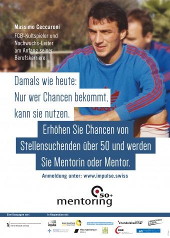 Das Foto zeigt eines der Plakate. Darauf ist FCB-Kultspieler und Nachwuchs-Leiter Massimo Ceccaroni am Anfang seiner Berufskarriere zu sehen.
