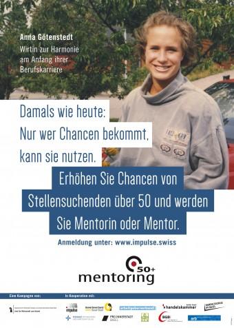 Das Foto zeigt eines der Plakate. Darauf ist Anna Götenstedt, Wirtin Restaurant zur Harmonie zu sehen.