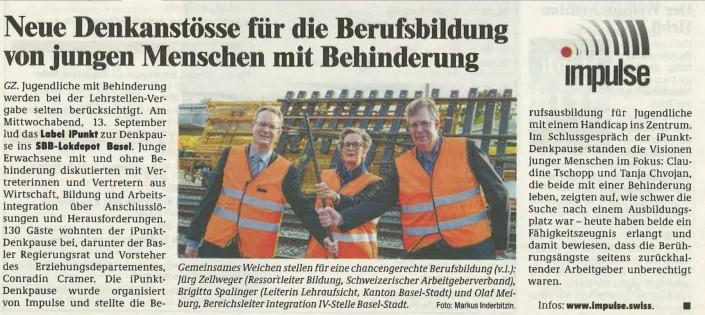Das Foto zeigt den Artikel der Gundeldinger Zeitung über die iPunkt-Denkpause 2017