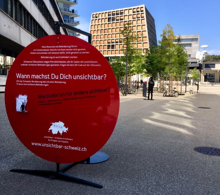 Das Foto zeigt die Silhouetten auf dem Freilager-Platz in Münchenstein/BL